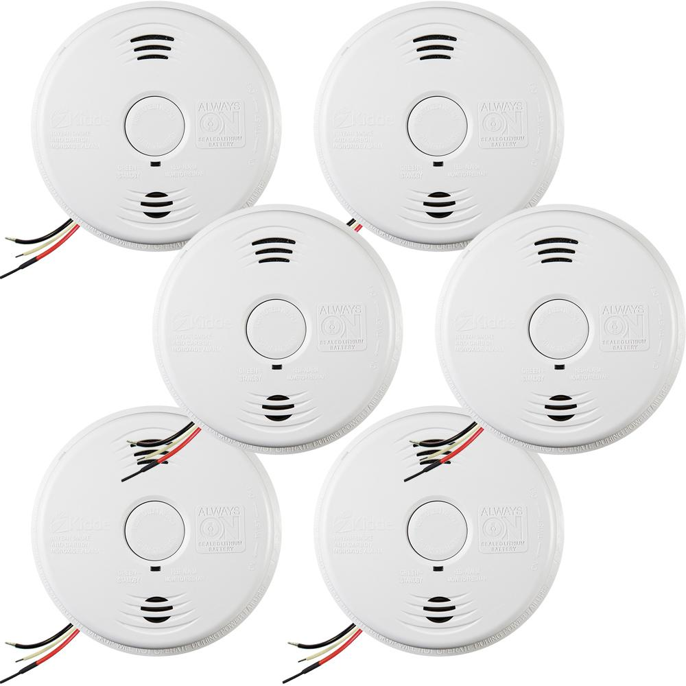 Worry Free Hardwire Smoke and Carbon Monoxide Combination Detector with 10-Year Battery Backup and Voice Alarm (6-pack)